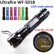 Free Shipping Super Brightness High Power WF-501B Cree XP-L V5 1A 1600 Lumens 5 Modes (Hi-Me-Lo-S-S) LED Flashlight Torch(China (Mainland))