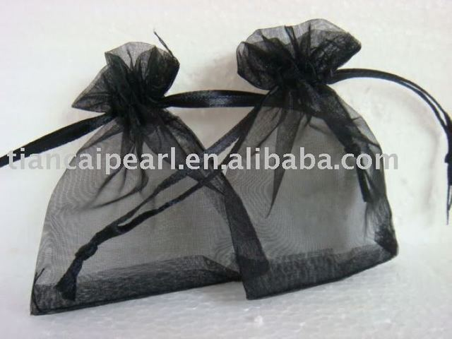 2017---free shipping  100 pcs  wholesale  black   color     Organza Jewelry Wedding Gift Bag