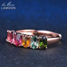 LAMOON 100% Реальных Природных 6 шт. 1.5ct Овальный многоцветный Турмалин Кольцо Стерлингового Серебра 925 с 18 К розовое Золото S925 LMRI005(China (Mainland))