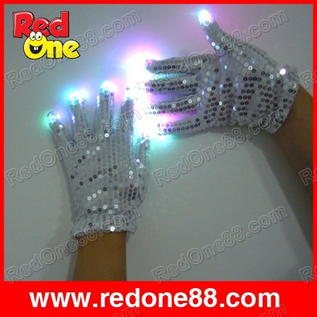Free shipping LED gloves (5RED/5BLUE/5GREEN) for party light show fingers multicolor Mj gloves(China (Mainland))
