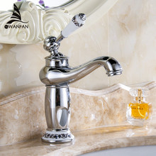 Free shipping New arrival Bathroom Faucet ceramic Chrome Plated Brass Basin Sink Faucet Single Handle water mixer taps M-16L