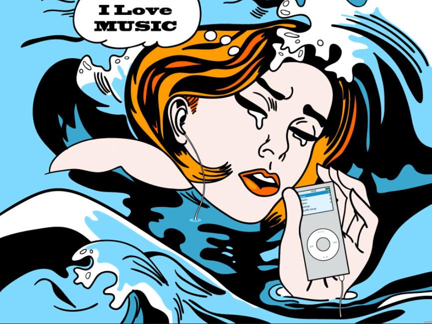 Girl iPod Music Art Huge Print Poster TXHOME D7080(China (Mainland))