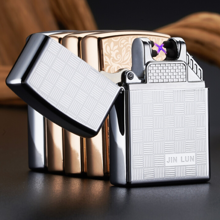 Pulse charge Windproof lighters usb electronic arc pulse charging cigarette lighter rechargeable personality double plated gift(China (Mainland))