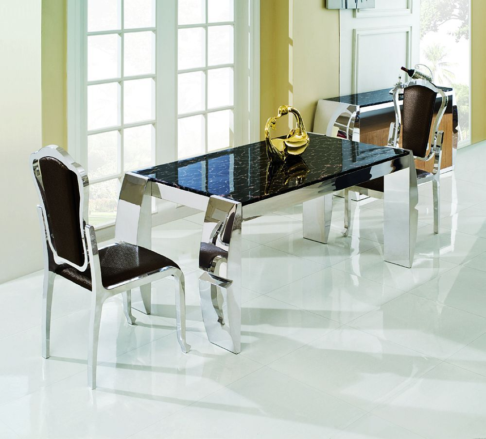 Transitional Dining Room Set Nayri Black Glass Top Glass Dining Room Tables