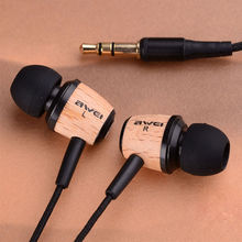 AWEI Q9 Super Bass Wooden in Ear Headphones Earphones Headset For 3.5mm Jack