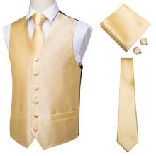 Привет галстук мужской классический синий Шелковый жаккардовый жилет носовой платок запонки вечерние свадебные Одноцветный галстук жилет...(China)