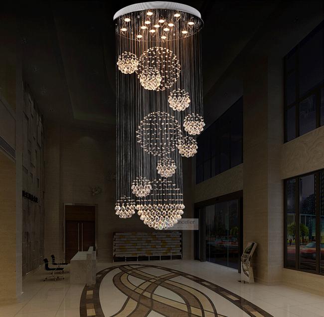 lampadario goccia : Various Sizes Fit 110 240V Modern Spiral Sphere Crystal Chandelier ...