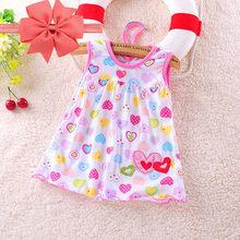 Лидер продаж, лето 2018, платье для маленьких девочек, детское платье с короткими рукавами, для детей 0-2 лет, хлопковая кукла, многоцветная Мила...(China)