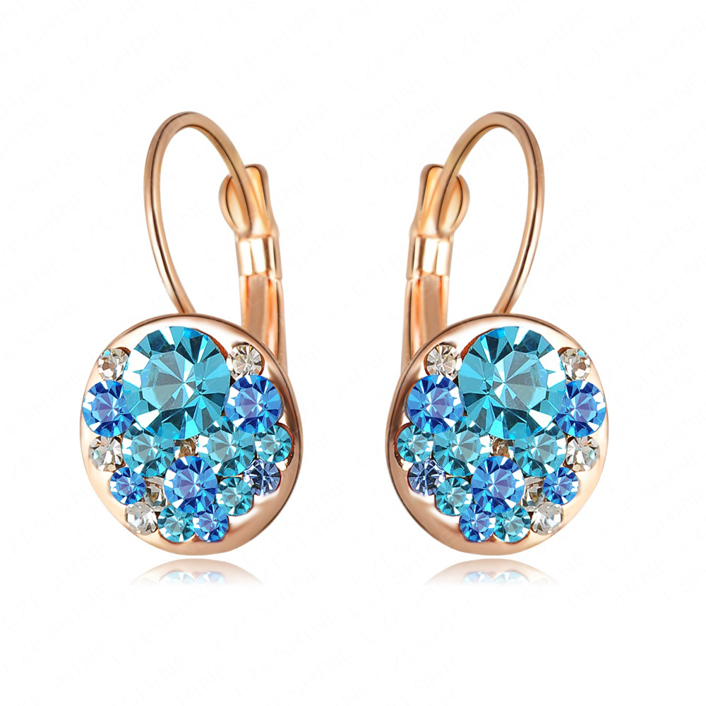 2015 Christmas Delicate Girls Earrings Stud 18K Rose Gold Plated With Austrian Crystals Fashion Round Earrings Wholesale ER0118(China (Mainland))