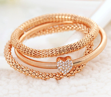 2015 New Fashion 3pcs/set Gold Silver Rose Gold Crystal Heart Elasticity Bangles Bracelets For Women Jewelry Wholesale pulseras(China (Mainland))