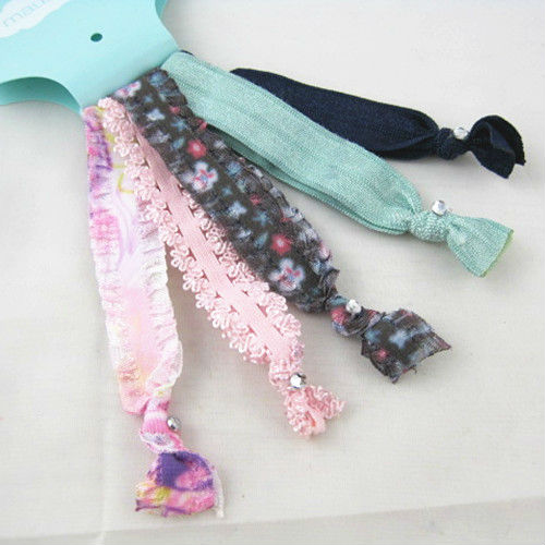 5PC Print & Solid Elastic Hair Ties Knotted/ Ponytail Holders Women/Girl's Accessory HeadBand - Wonderful store
