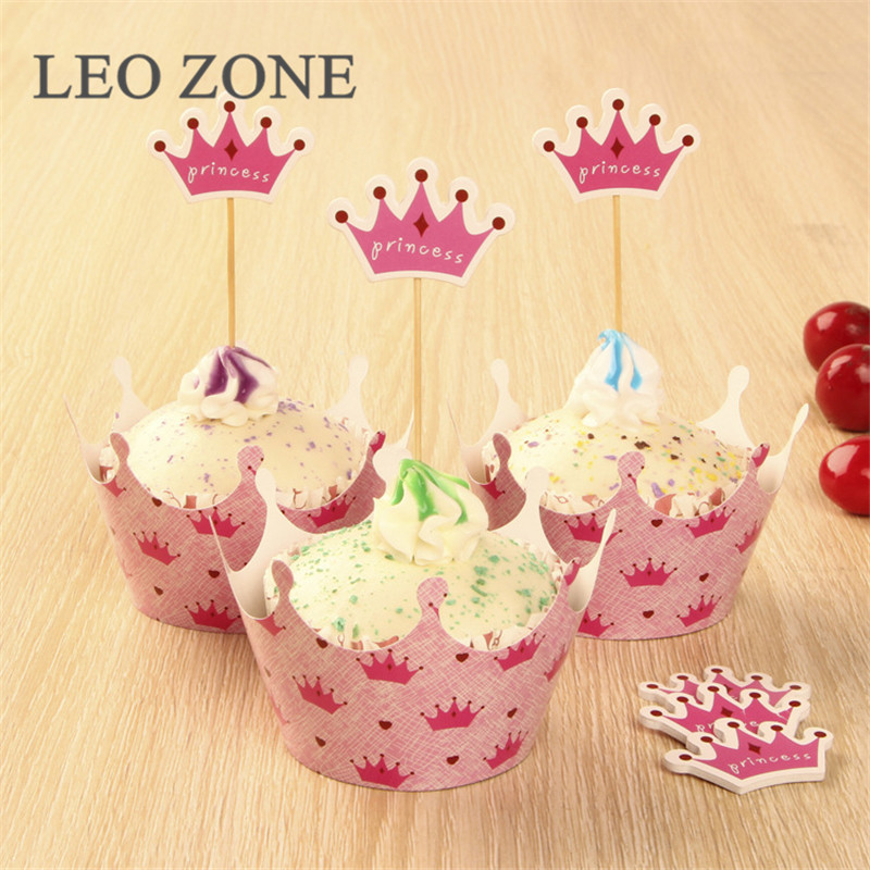 60Pcs Cupcake Toppers and Cupcake Wappers Wedding Birthday Party Decorations Kids Decoration Anniversaire Event Party Supplies(China (Mainland))