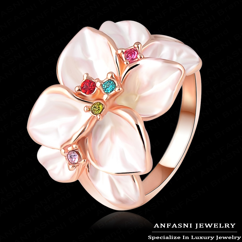 Top Quality White Enamel Ring 18K Rose Gold Plated Flower Ring Made With Genuine SWA Stellux Austrian Crystal Ri-HQ1006-A(China (Mainland))