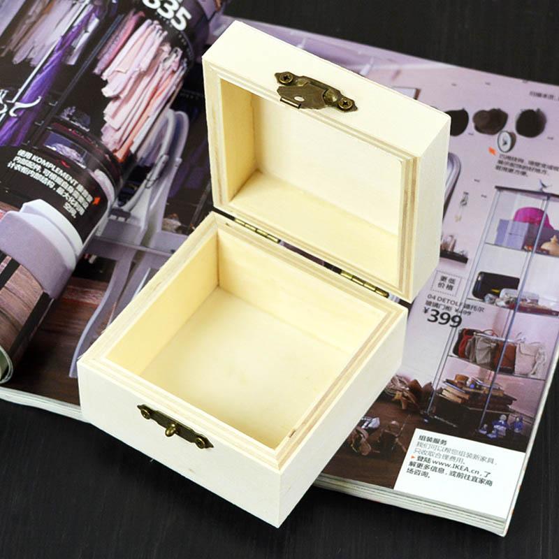 1Pcs Wooden Jewelry Case Fashion Mud DIY Square Shape Storage Box Decor(China (Mainland))