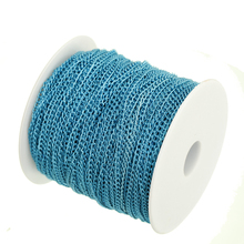 100m/lot in Bulk Blue Plated Cable Chain Findings for Necklace Bracelets Jewelry Making