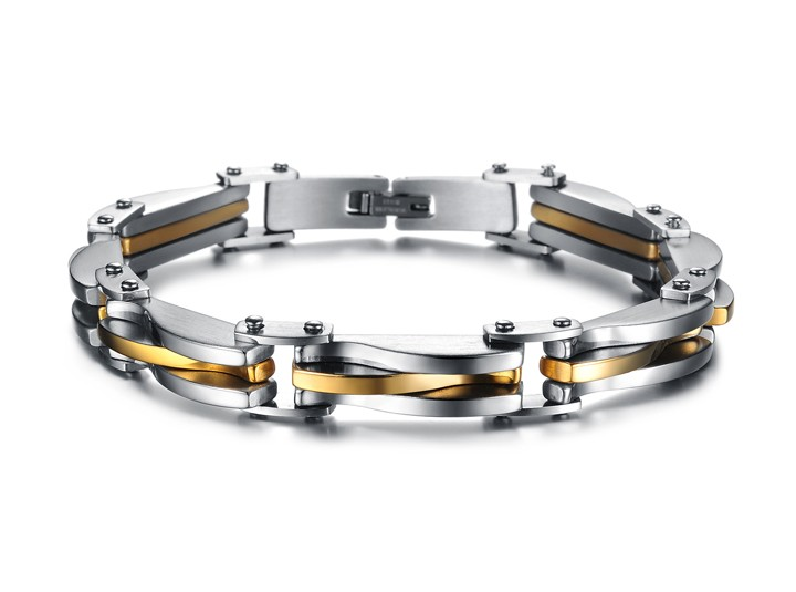 Men Jewelry Punk Rock Stainless Steel Bracelet Silver Golden texture Link Chain Bracelets for men as gifts wholesale GSK681(China (Mainland))