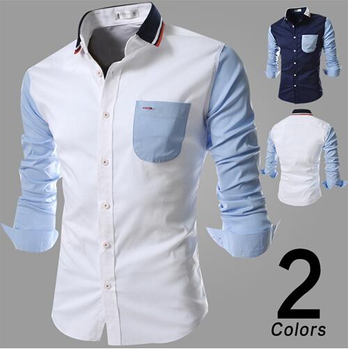 product Free shipping 2015 Brand  explosion Mens brand Harmonia stitching design men's casual shirt long sleeve shirt camisa masculina