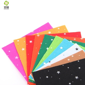 Print Five-pointed star Polyester Felt Fabric Cloth DIY Handmade Sewing Home Decor Material Thickness1mm 10Colors 15x15cm N-10S4