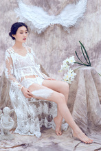 YIGELILA new robes luxurious sleepwear handmade top quality lace robes for women (China (Mainland))