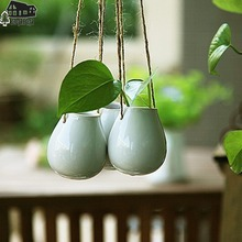 Free shipping New arrival Zakka Nordic style hanging white ceramic flower vase Eggs bottle Compact home decoration gifts(China (Mainland))