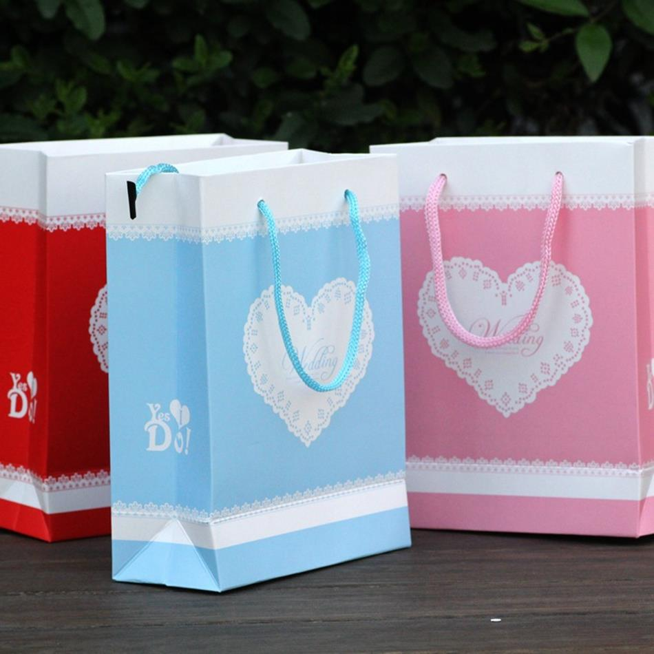 Wedding Gift Handbags Small Party Favor Boxes Bags for Candy or Souvenirs with Heart in Red Pink & Blue 60pcs Free Shipping(China (Mainland))