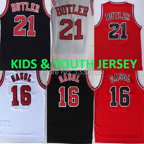 Chicago Youth Kids Basketball Jersey Online, Black Red White #16 Pau Gasol Jersey Youth, Jimmy Butler Kids Jerseys New Arrival(China (Mainland))