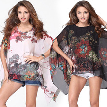 lztlylzt Casual Boho Floral Chiffon Batwing Short Sleeve Blouse Chemise Femme Blusas 2016 Summer Tops Shirt Women Clothes
