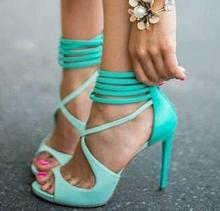 Hot Selling Discount Newest Delicate High Heel Shoes Turquoise Strappy Open Toe Women Sandals Size 34-41 Free Ship(China (Mainland))