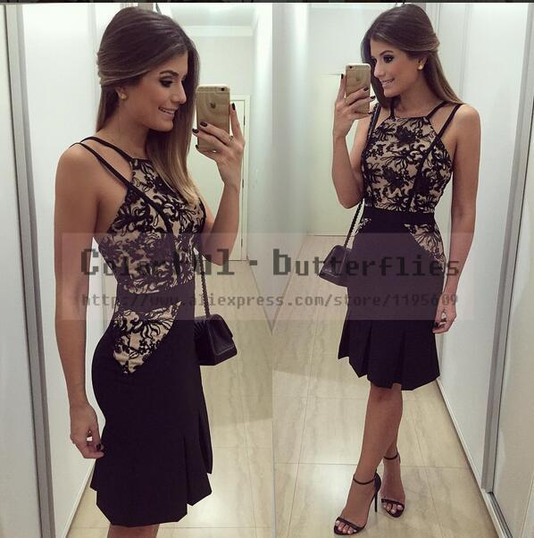 New Vestidos Women Summer Dress 2015 O-Neck Sleeveless Vestido de festa Fashion Casual Backless Lace Black Dress(China (Mainland))