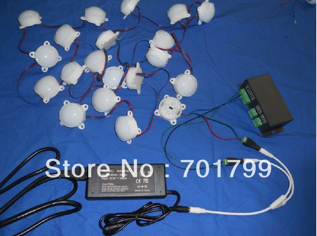 40pcs 12V 45mm diameter WS2811 pixel module+DMX-SPI convertor+12V/85W power adaptor