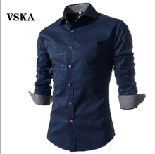 Men's Shirts 2015 Fashion Designer Casual Long-Sleeved Plaid Shirt, Male Camisas Hombre Slim Brand Camisa Masculina XXXXL