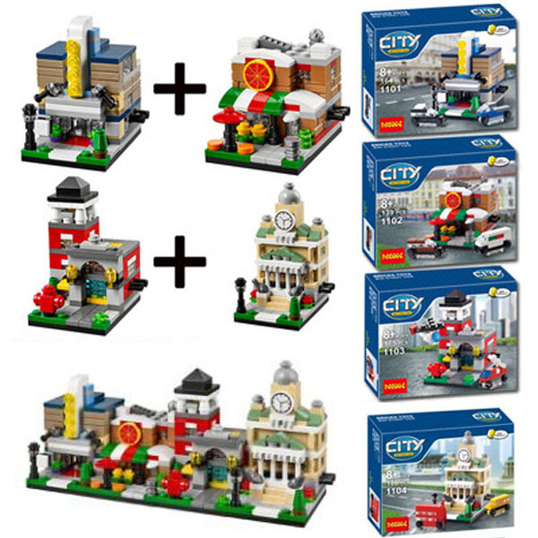 Decool 1101-1104 4set/lot City Scene Movie Theaters/Pizza Shop/Fire Station/Guildhall Building Block Toys Compatible With Lego(China (Mainland))