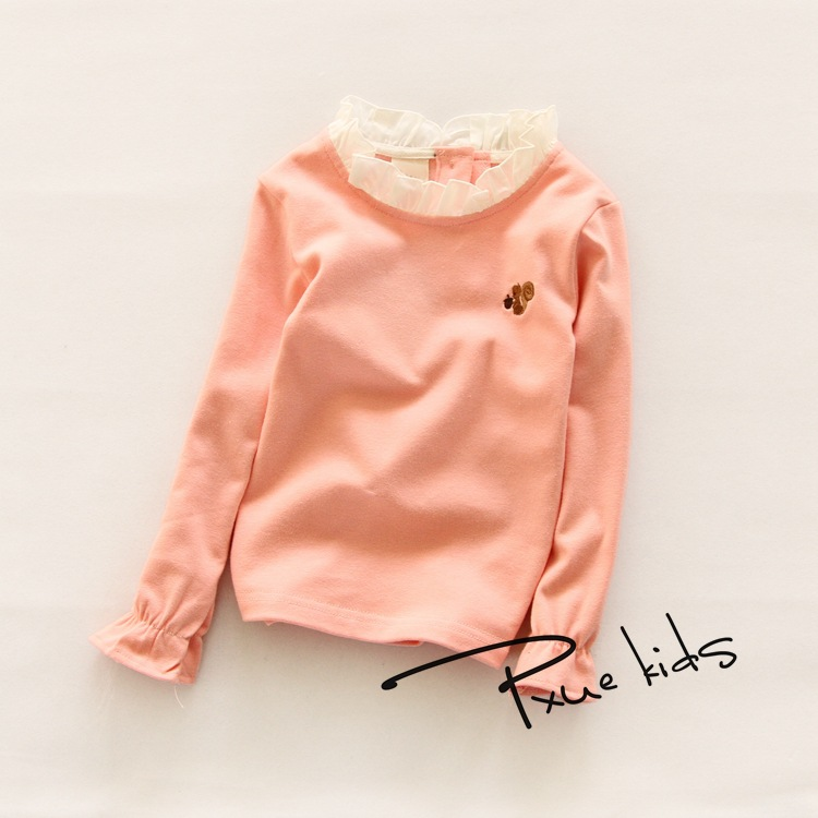 2016 fashion spring Sweet little girls boutique clothes cartoon cute long sleeved lace collar blouse  for girl tops<br><br>Aliexpress