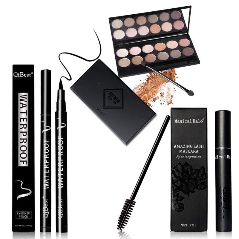 Brand Makeup Palette Natural Eye Makeup 12 Colors Eye Shadow Makeup Shimmer Matte Eyeshadow Palette Set+Mascara+Eyeliner Pencil(China (Mainland))