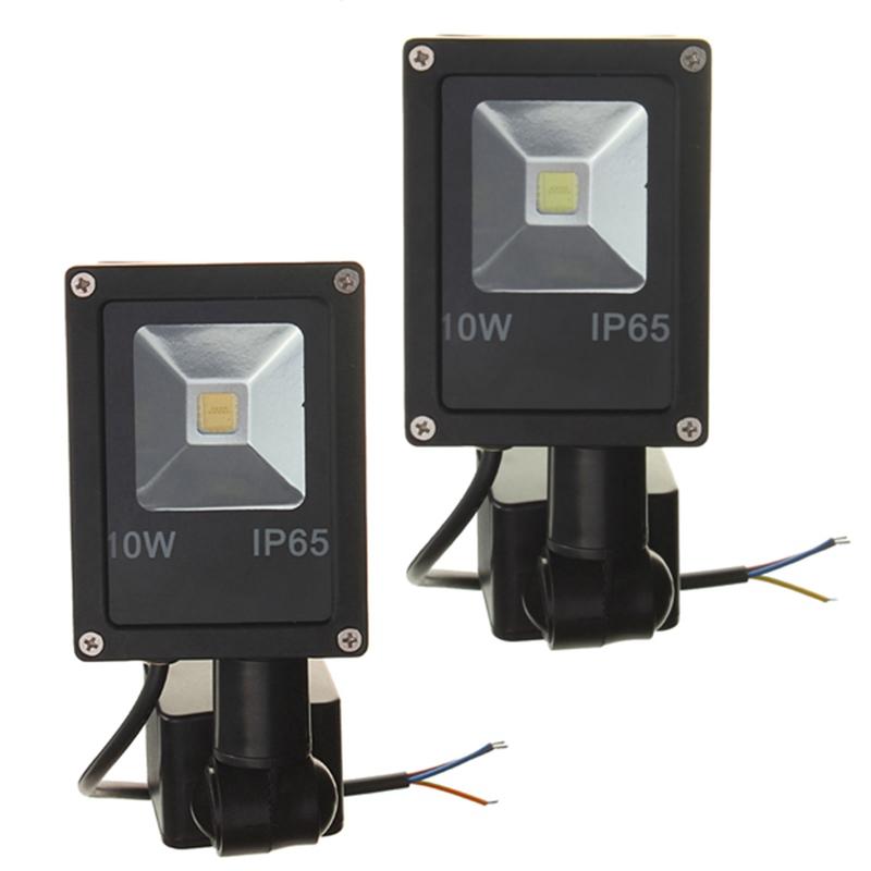 New Arrival 10W PIR Motion Sensor LED Wash Light Floodlight Spotlight IP65 Outdoor Lighting Lamp White Warm White AC/DC12V(China (Mainland))