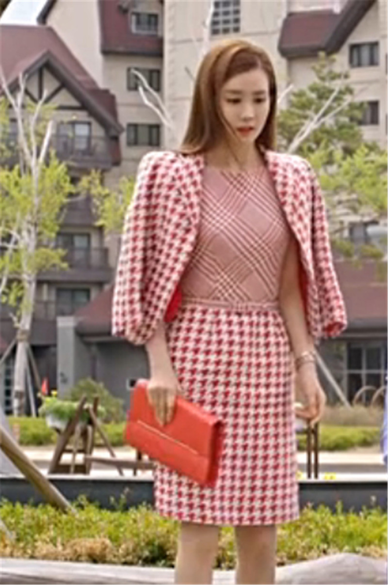 Gorgeous 2016 Spring New Womens Long-Sleeved Jacket Houndstooth Vest Skirt Suit W1767Одежда и ак�е��уары<br><br><br>Aliexpress