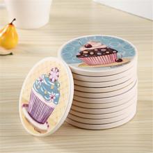 Ceramic mug coasters Illustration pad set double faced wood slip-resistant circle refuging absorbent mat heat insulation pad(China (Mainland))