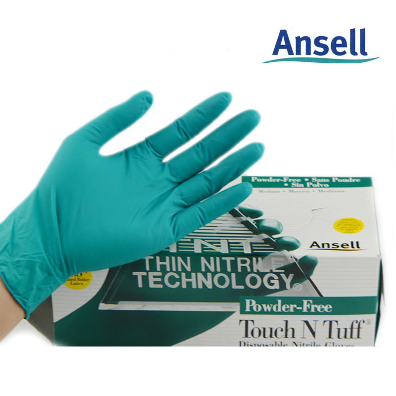 Ansell thick rubber gloves powder free nitrile disposable laboratory food imports high-end clear oil<br><br>Aliexpress