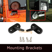 A Pair of LED Work Light Bar Bumper Holder Spotlight Bracket Driving Work Lamp Holder Kit For 07-13 Jeep Wrangler JK