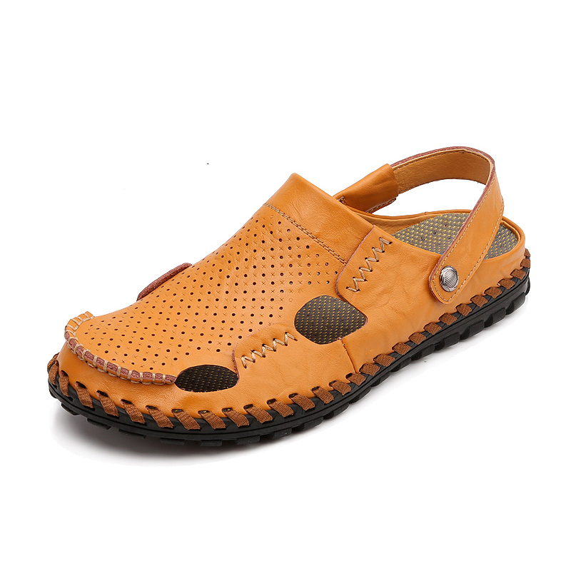 Nice New Summer Classic Style Back Strap Men Cut-Outs Breathable Handmade Genuine Leather Toe Cap Covering Sandals(China (Mainland))