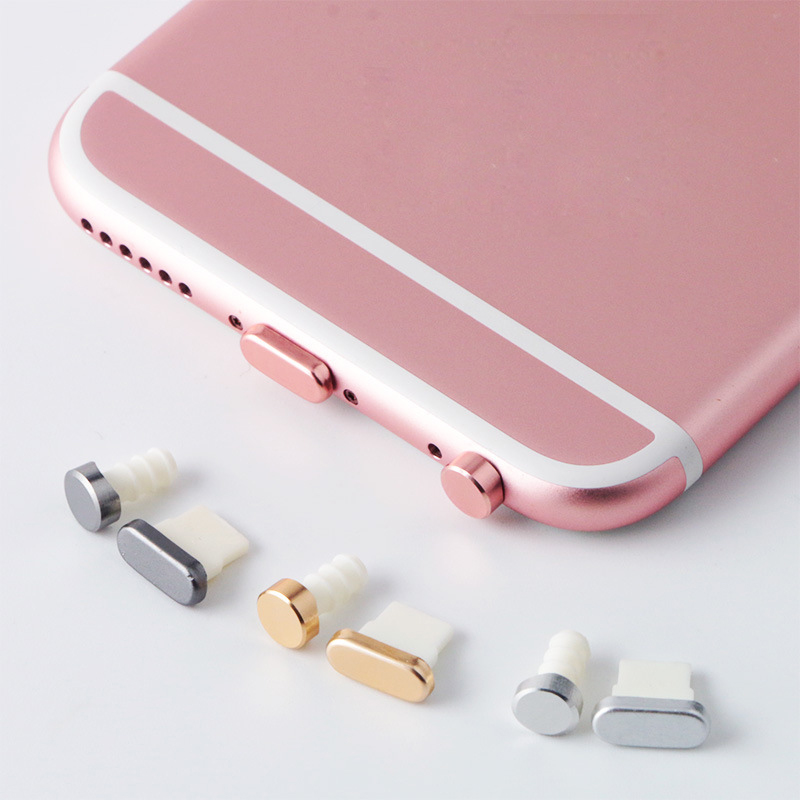 5 in 1 Metal Alloy Earphone Jack Anti Dust Plug Ear Earphone Cap for iPhone 7 Pluggy 6 6S Plus 5 5S SE cell Phone Headphone Plug(China (Mainland))