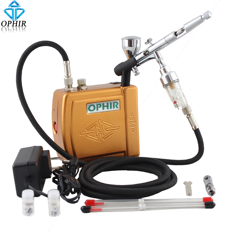 OPHIR Free Shipping Golden 12V Airbrush Compressor Kit 3 Tips Dual-Action Airbrush for Tattoo Makeup_AC003G+AC070+AC011