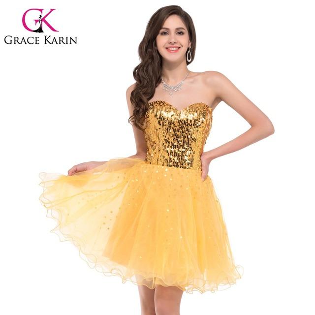 Грейс карин без бретелек сексуальное короткое блесток пром платья золотой черный ...