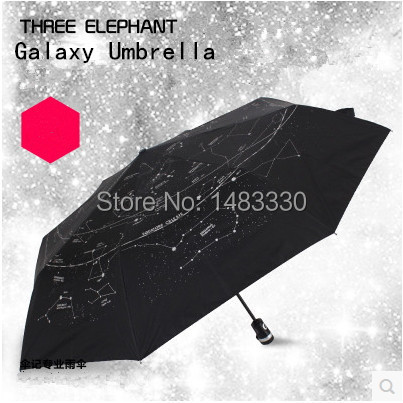 Novelty Galaxy Umbrellas For Sale!Japanese Three Elephants Brand Auotmatic 3Folding Strong Windproof And Anti-uv Ladies Umbrella