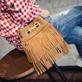 Women Tote Bag 2016 Tassels Nubuck PU Leather Bag Small Bucket Female Messenger Bags Famous Brand