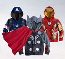 2016 The Avengers jacket and coat boys 2-10yrs, Baby Thor Cosplay jacket, Captain america jackets. Girls and boys hoodies