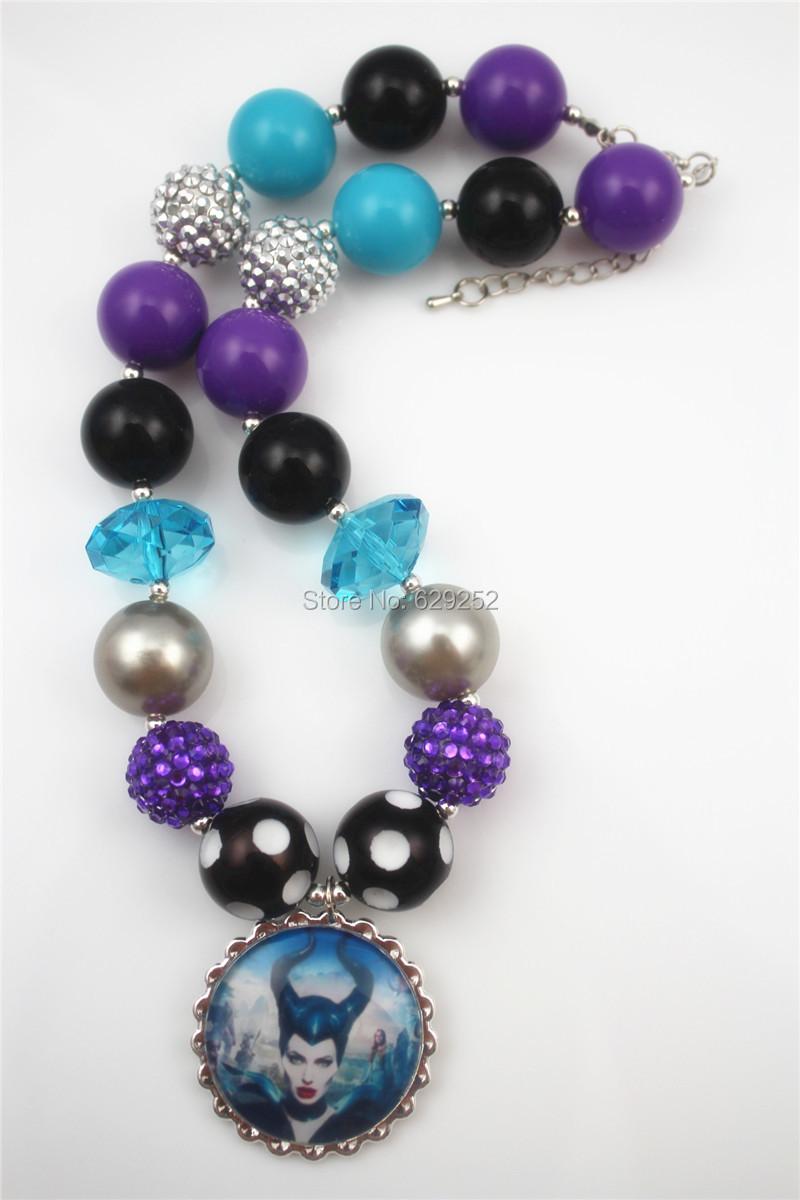 2pcs wholesale maleficent chunky bubblegum necklace