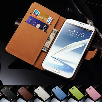 Genuine Leather Wallet Stand Case for Samsung Galaxy Note 2 II N7100 Phone Bag with Card Holder Flip Style Drop SHIp