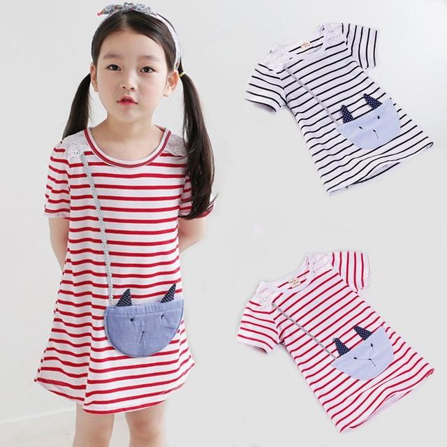 Розничная летом новый новорожденных девочек платья девушки с коротким рукавом в полоску прекрасный маленький кот детская одежда девушки одеваются 2-7Y