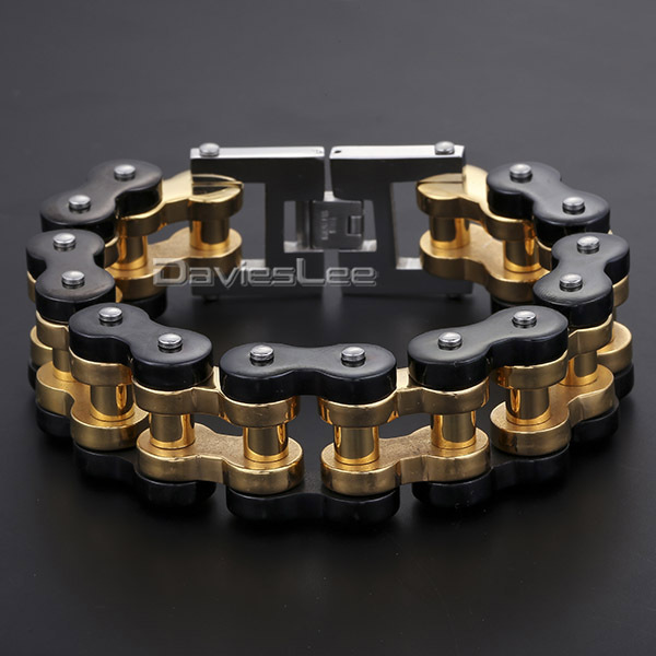 Gift 12.5/15/20/24mm Heavy Mens Chain Boys Black Gold 316L Stainless Steel Biker Motorcycle Link Bracelet Jewelry DLHBM68(China (Mainland))